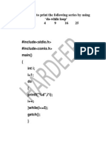 19 Program to Print the Following Series 1 4 9 16 25