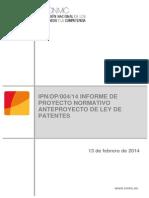 Informe de La CNMC Sobre El Anteproyecto de Ley de Patentes