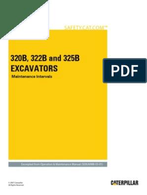 320B, 322B and 325B Excavators-Maintenance Intervals