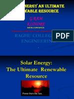 Solar Energy--The Ultimate Renewable Resource