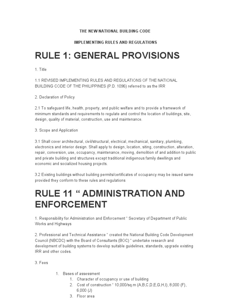 The New National Building Code   Building Code   Specification ...