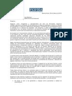 Carta a Embajador de Venezuela
