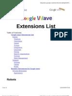 Google Wave Extension List