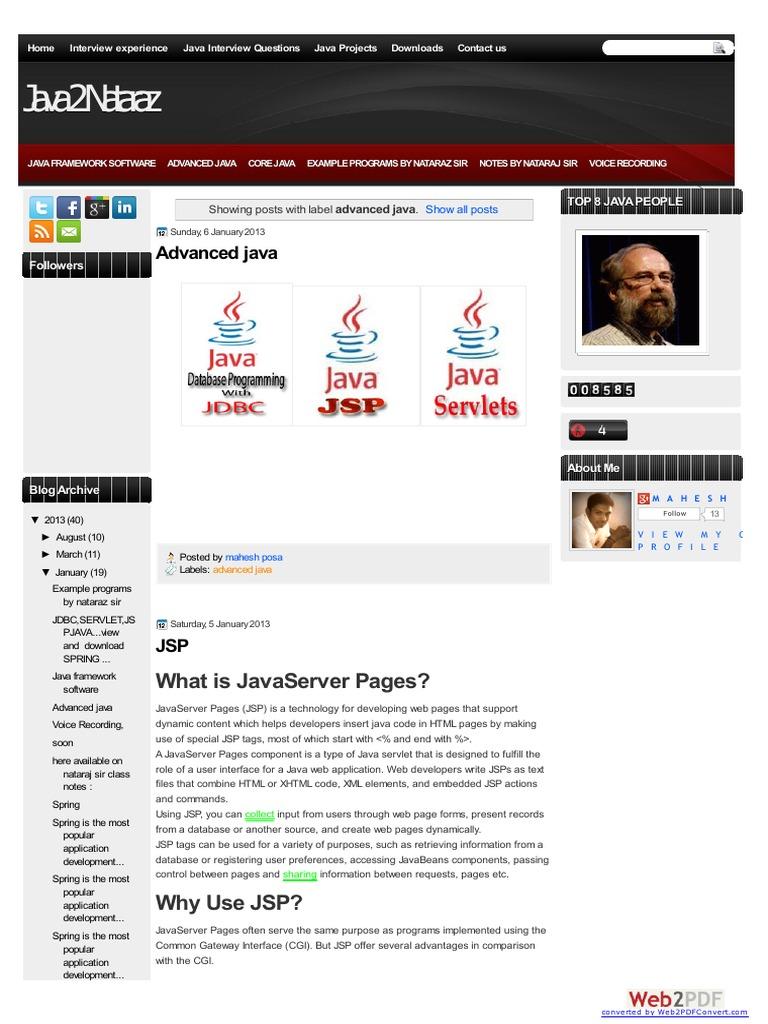JSP notes | Java Server Pages | Java Servlet