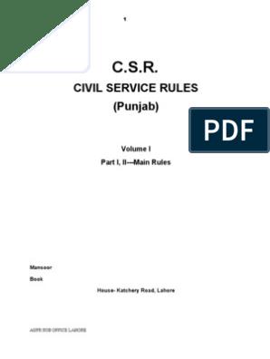 Civil Service Rules (Punjab) Pakistan, CSR | Barrister | Employment