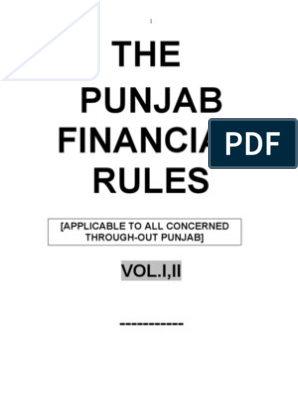 Punjab Financial Rules (PFR) Volume-1 | Cheque | Payments