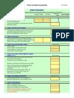 Zakat Calculation Spreadsheet