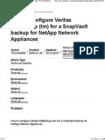SnapVault Backup for NetApp Network Appliances
