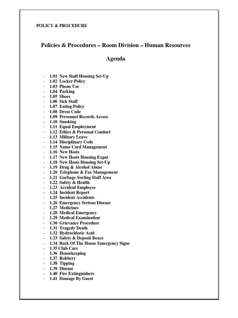 4.03 Human Resources Policies & Procedures, 61 Pages