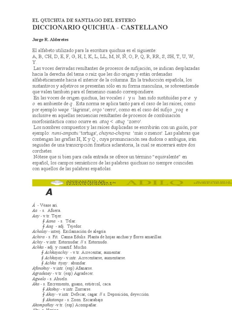 Del EsteroAlphabet De Foods Quichua Santiago Diccionariol LR5jA4