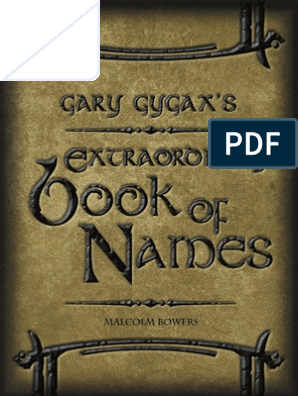 Gary Gygax's Extraordinary Book of Names | Copyright | Derivative Work