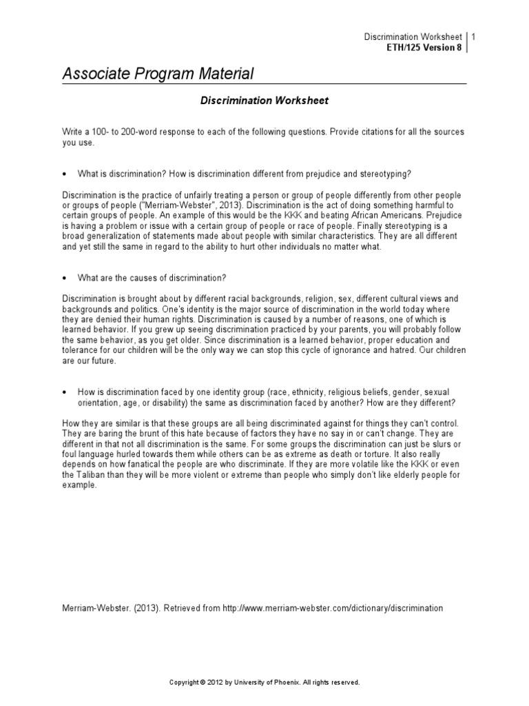 prejudice stereotyping and discrimination worksheet