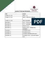 Juniors Training Schedule
