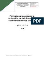 FLPQ-GC-001 Formato para asegurar la protección de la información confidencial de los clientes