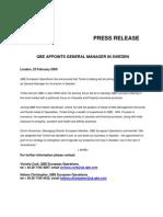 23 Feb 09.QBE Appoints Swedish GM