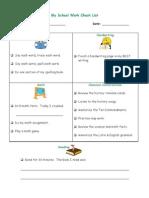 School Work Check List