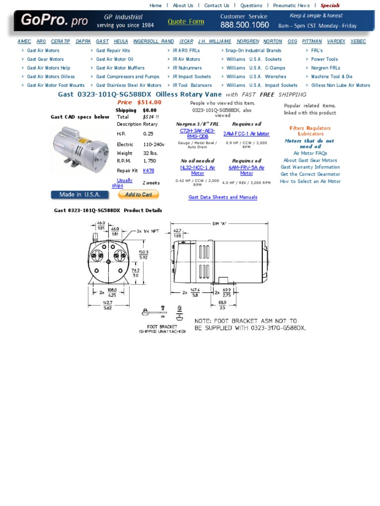 Bam 1020 Motor Specification Engines Electric Gast Oilless Pump Wire Diagram