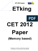 Cetking Maharashtra MHCET 2012 MBA CET Actual Paper PDF Verbal Section