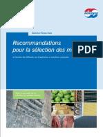 recommandation pour la selection des matériaux