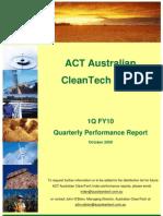 Australian CleanTech Performance Report -- Oct. 2009