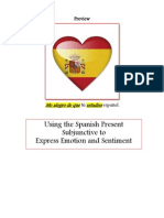 Online Preview Using the Spanish Subjunctive to Express Emotion and Sentiment