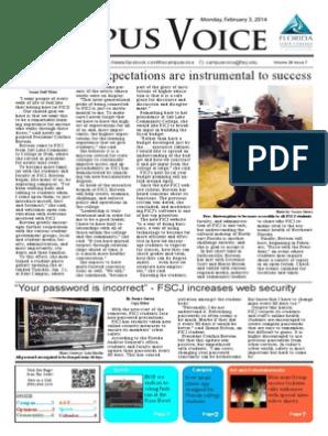 FSCJ Campus Voice Newspaper Feb 3 Front | Mobile App | Password