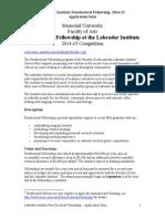Lab Institute Postdoc 2014-15 App