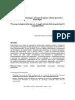 (01) A assistência psicológica através da escuta clínica durante a internação