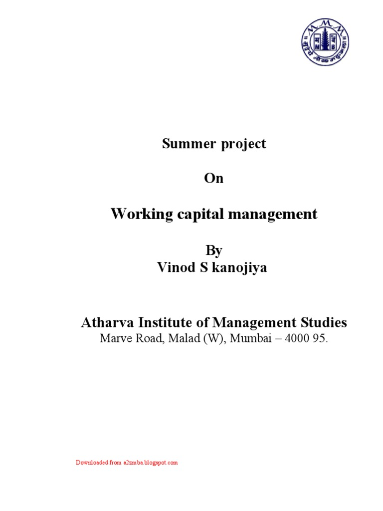 Synopsis working capital management at bom working capital investing