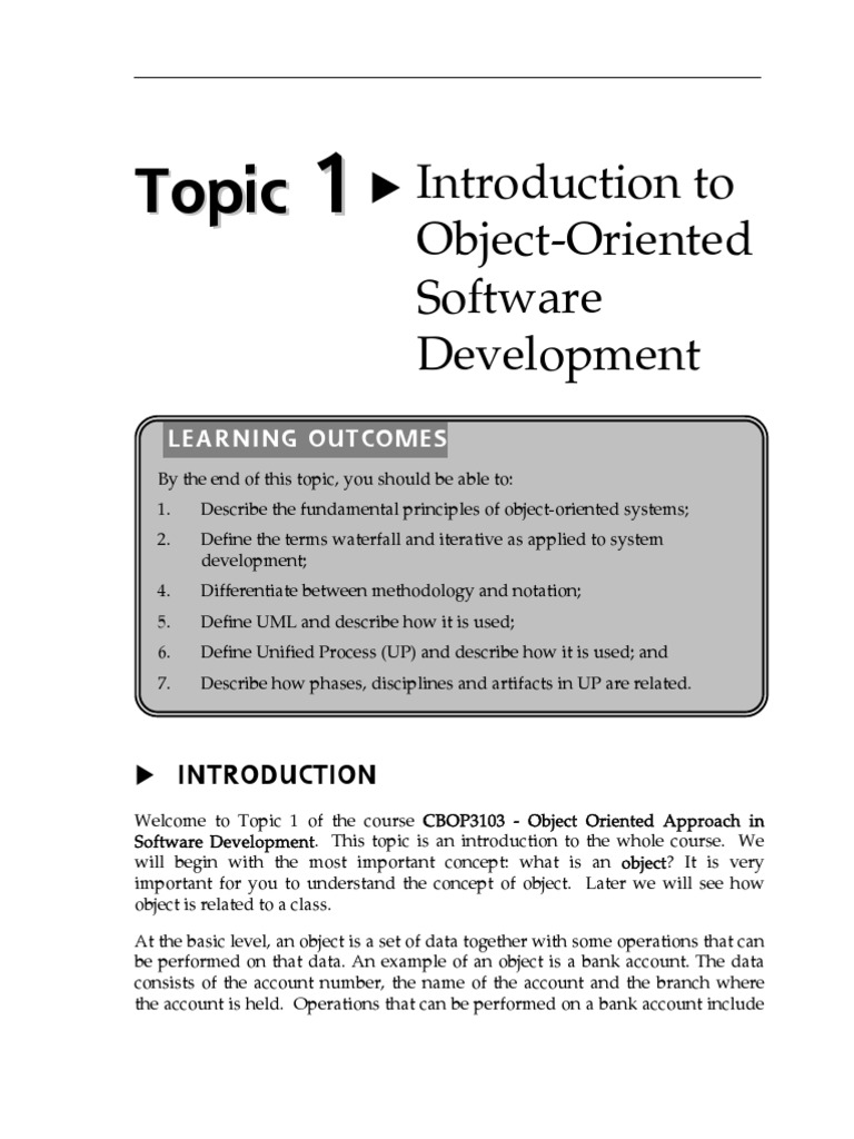 topic 1 introduction to object oriented software development