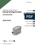 Sony DCR-HC21 MiniDV Handycam Camcorder w20x Manual