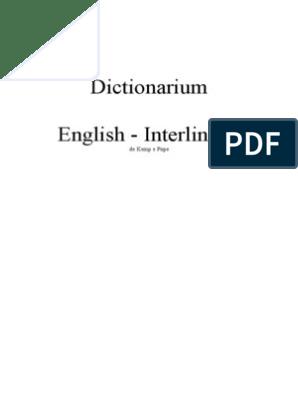 Pope Dictionarium English Interlingue Unknown