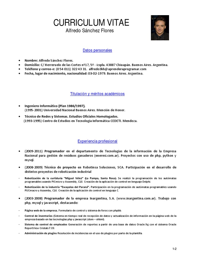 Vistoso Ejemplos De Currículums Php Ilustración - Ejemplo De ...