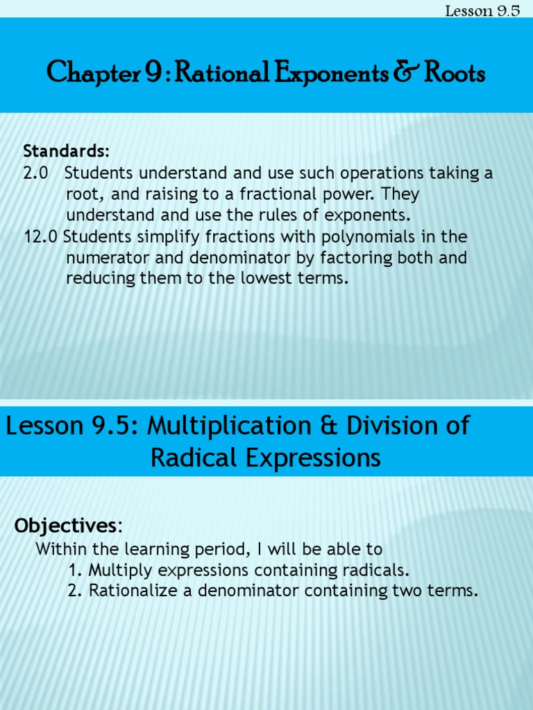 lesson 9 5 multiplication division of radical expressions | Fraction ...