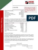 ALUMEX Initial Public Offering 28.02.2014