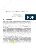 Cognitive Context Models and Discourse
