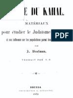 Brafman Jacob - Livre Du Kahal