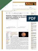 Espace_ l'impact d'une comète pourrait modifier le climat de Mars (chercheur)