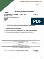 Matematik Tambahan Kertas 2 Ting 4 Terengganu 2011