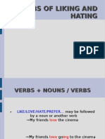 Unit 1-Verbs of Liking and Hating