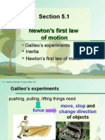 Section 5.1 Newton's First Law of Motion