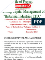 Wroking Capital Management of Britannia Industries