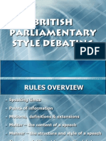 British Parliamentary Style Debating - OVERVIEW (1)
