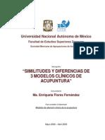 SIMILITUDES Y DIFERENCIAS DE 3 MODELOS CLÍNICOS DE ACUPUNTURA