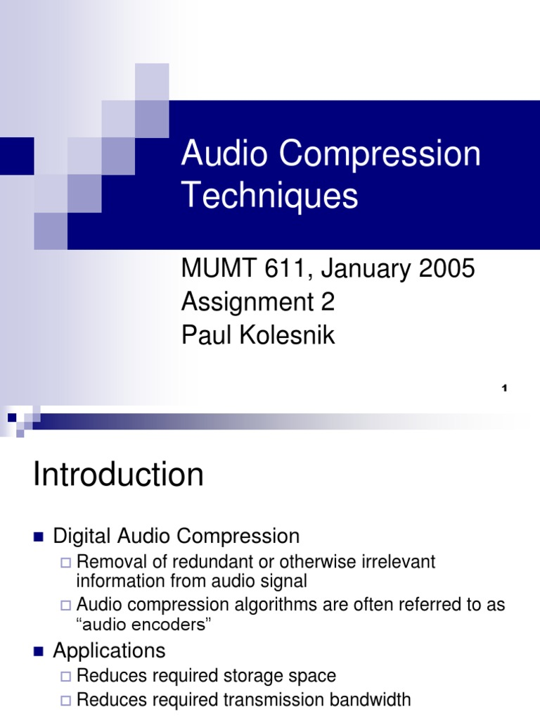 Kolesnik Audio Compression | Data Compression (9 views)