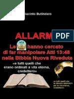 ALLARME! Le ADI hanno cercato di far manipolare Atti 13 48 nella Bibbia Nuova Riveduta
