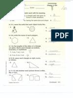 geometry test answer key 1