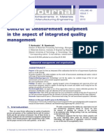 Control of measurement equipment in the aspect of integrated quality management