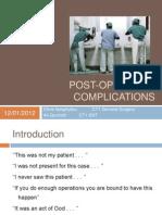 Post-Operative Complications Presentation