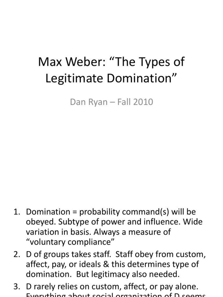 domination Weber of and types